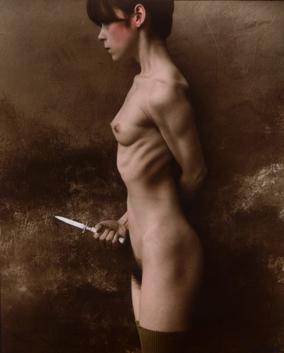 ©Jan Saudek, Il coltello, 1987